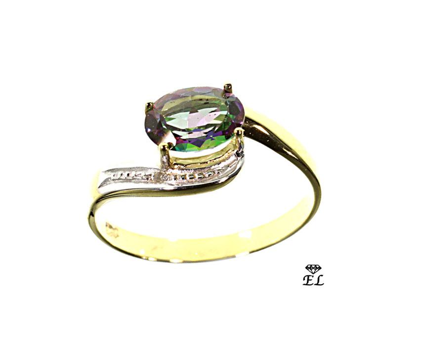 Ring 333- Gelbgold Mystik Topas_Diamant